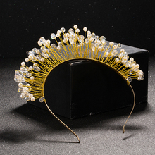 TUANMING Gold Metal Baroque Crystal Crown Tiara Headband Hairband For Women Wedding Hair Accessorie Tiara Headpiece