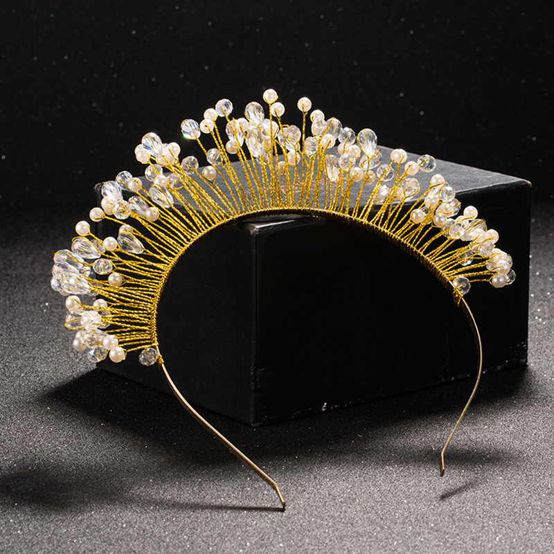 TUANMING Gold Metal Baroque Crystal Crown font b Tiara b font Headband Hairband For Women Wedding