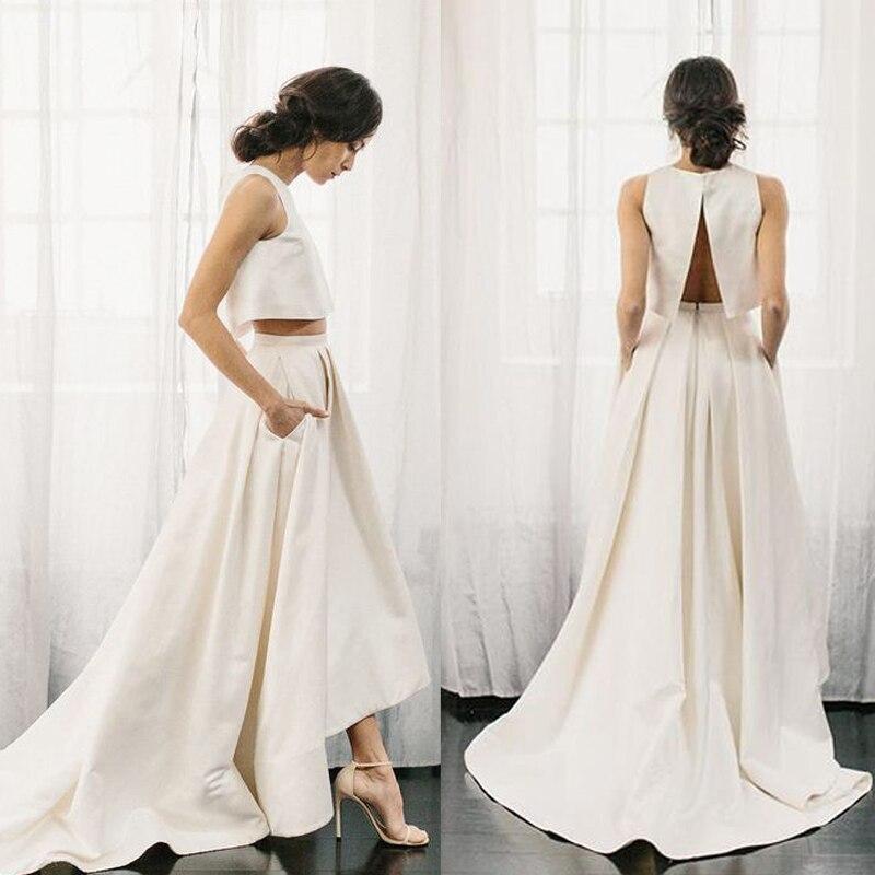 Vestido De Noiva 2 piece satin Wedding Dress a line boho 2019 Fashion sweep train Elegant