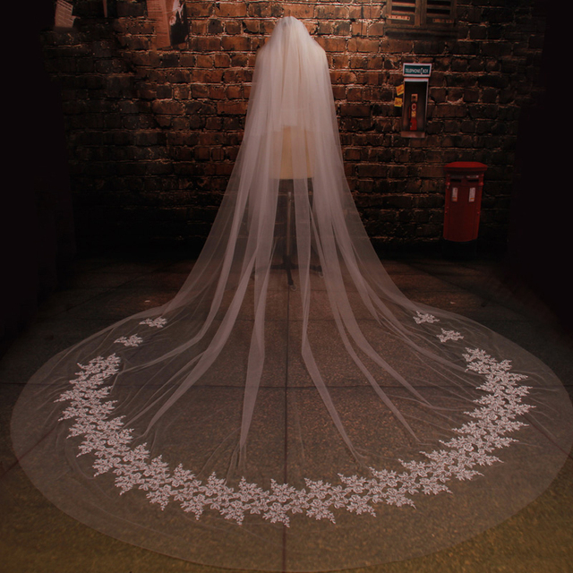 US $37 0  New Multi Layer Cathedral Appliques Wedding Veils Grace Li  Handmade Bridal Women Accessories White Ivory In Stock Custom Made-in  Bridal