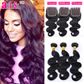 Brazilian Virgin Hair Body Wave With Closure 3 Bundles Weaves Human Hair Weft With Closure Meches Bresilienne Lots Avec Closure