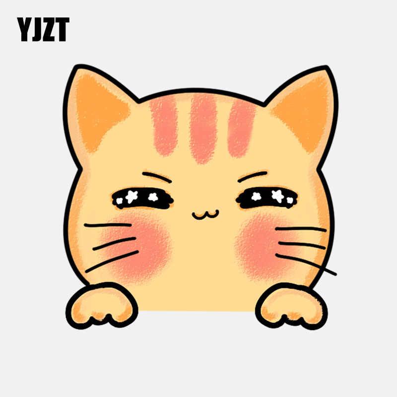 YJZT 13.2 سنتيمتر * 12.7 سنتيمتر الكرتون نجمة مبتسم القط PVC الديكور سيارة ملصقا 11-00994
