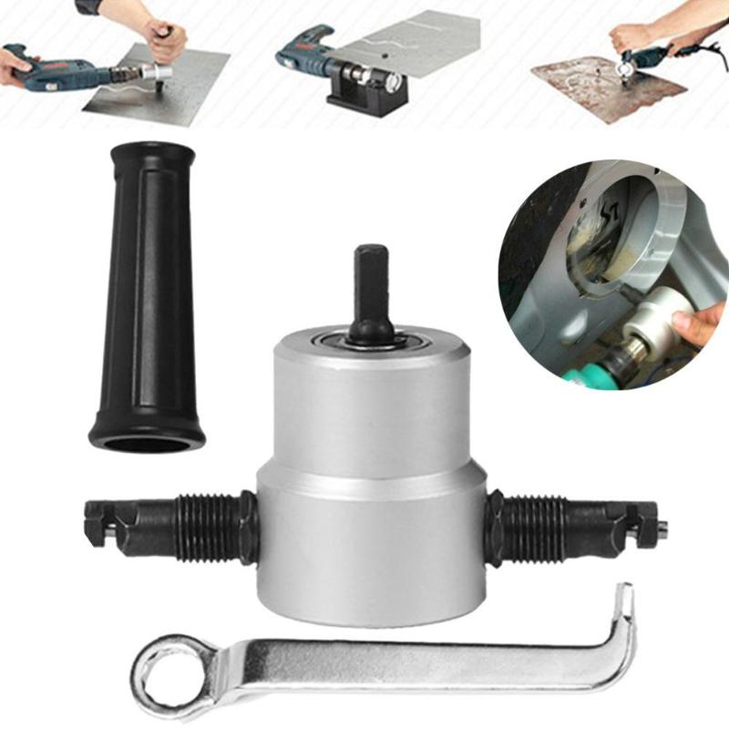 цена на Newest Nibble Metal Cutter Double Head Plate Cutting Sheet Saw Cutter Tools Drill Bit Attachment Free Cutting Tool
