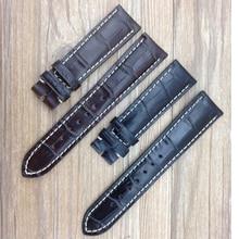 Nueva llegada de la Correa de Cuero Correas de blanco cosido 19mm 20mm 21mm Negro Marrón Pulseras de acero pin broche para Relojes de Los Hombres
