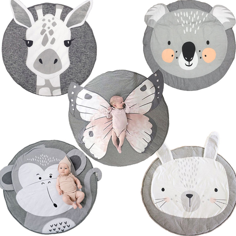 Baby Play Mats Crawling Carpet Blanket Cotton Pad Mat Round Floor Rug Kids Playmat Activity Gym Gifts for Newborn Toddler Infant | Happy Baby Mama