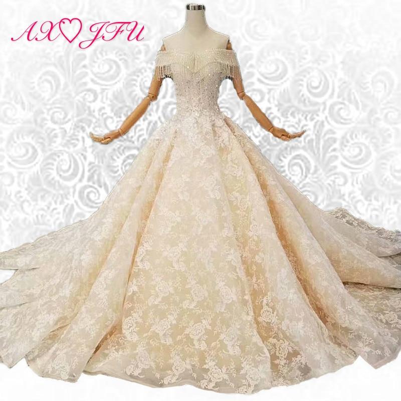 AXJFU promozionale coreano sposa abito da sera trailing champagne pizzo perline perle abito da sera 100% immagini reali 11075