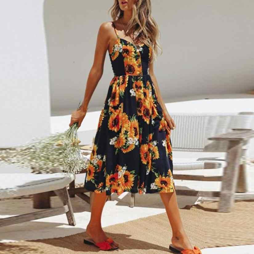 460772b4e9e9 Detail Feedback Questions about V neck Floral Ptint Dress Women Sleeveless  Buttons Front Midi Dresses 2018 Boho Sunflower Dress Femininas #BF on ...