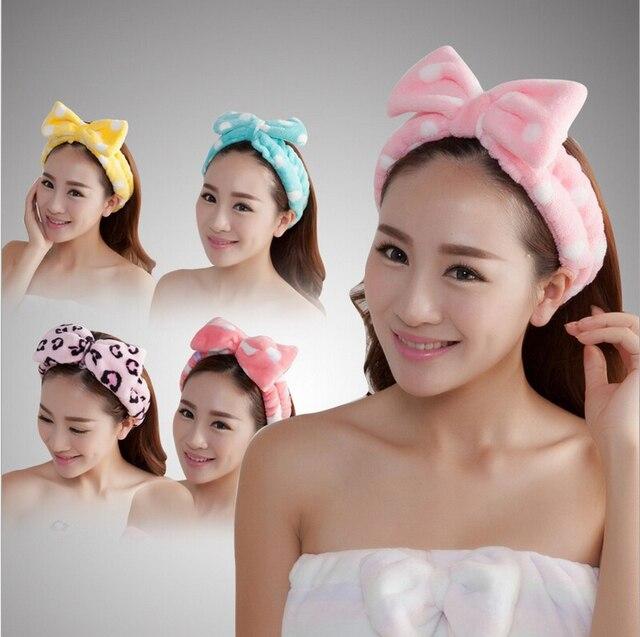 2017 women blue bow hair band belted Polka Dot plush velvet lady headband makeup bath wash scarf HO873860