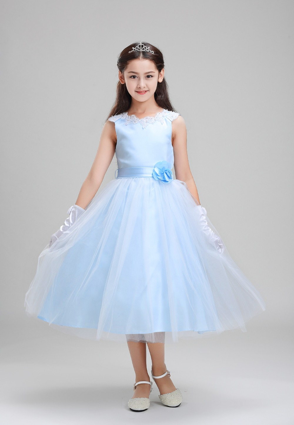 Ankle-Length Summer Elegant Blue Lace Flower Wedding Girl Party Dresses Kids Teenagers Ball Gown Holy Communion Pageant Dress elegant flower lace lacut cut wedding invitations set blank ppaer printing invitation cards kit casamento convite pocket