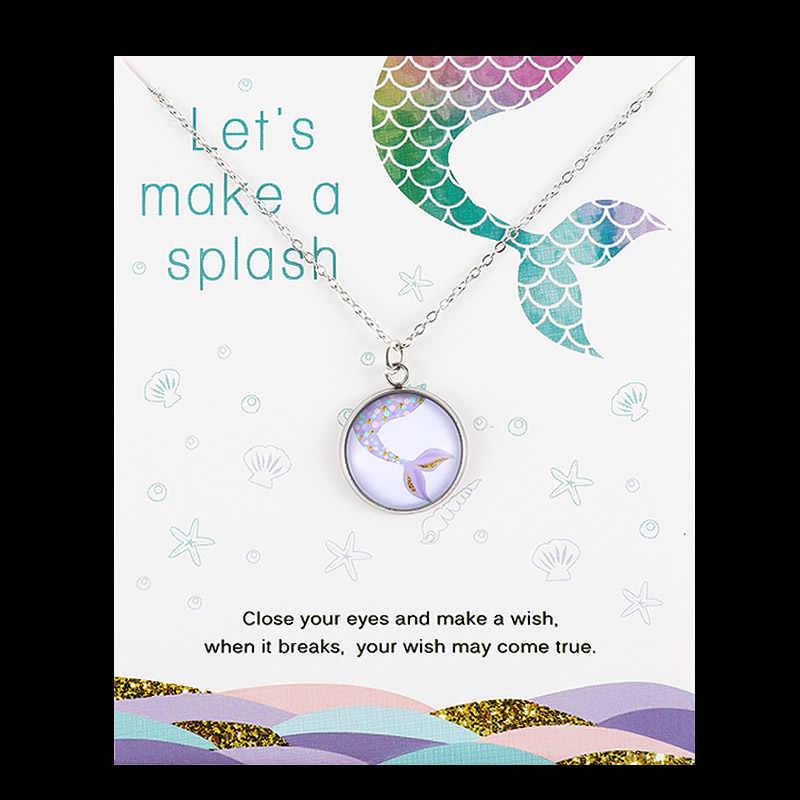 Lato plaża Ocean biżuteria piasek dolar konik morski ośmiornica żółw rozgwiazda muszle wieloryb fala syrenka naszyjniki dla kobiet