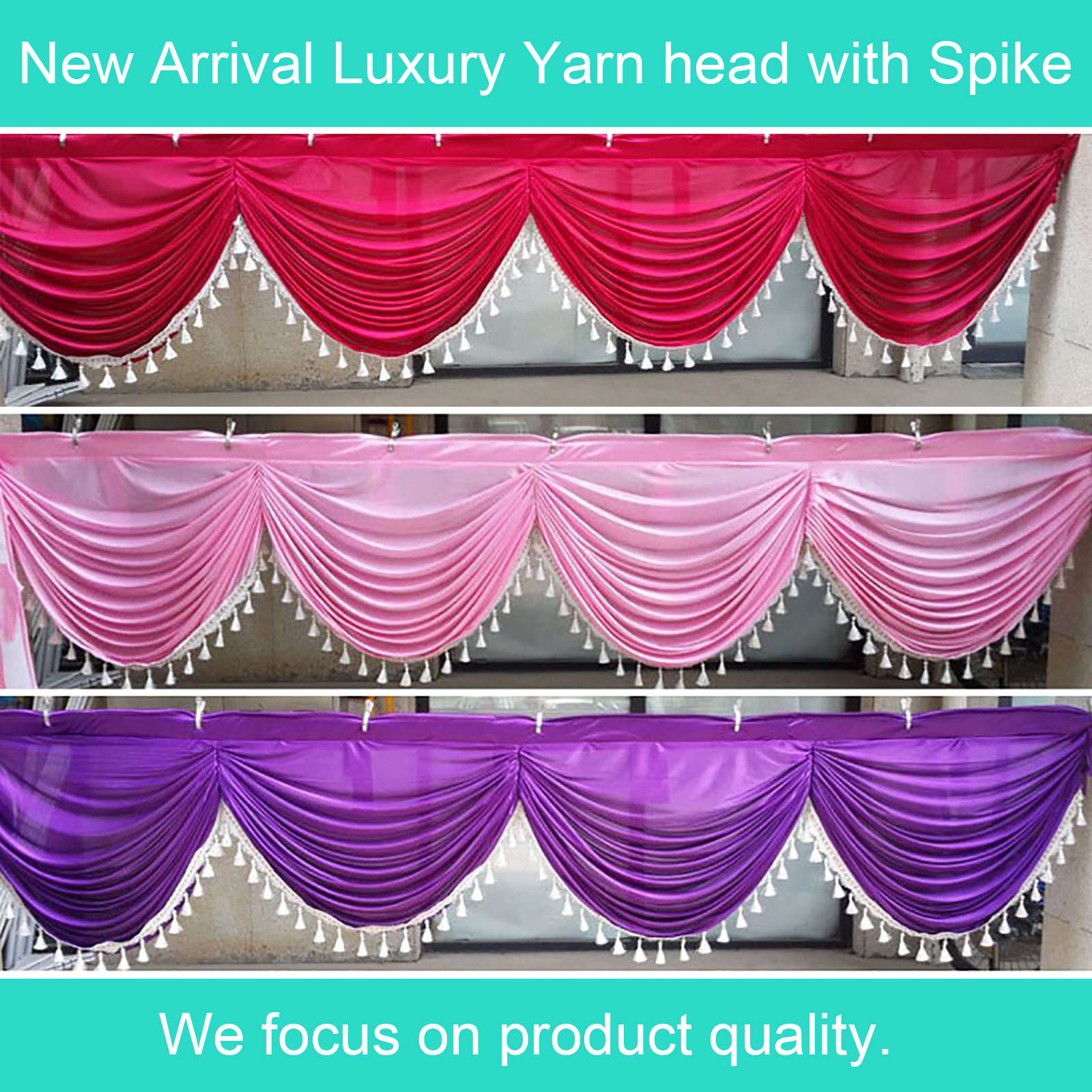 6M Wedding Backdrop Swags with DIY Tassel Table Swags for Event Party Decoration Luxury Table Skirt Swags Design for Wedding