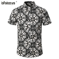 2016 new fashion summer flower shirts for men casual designer large size men Short sleeve shirts camisas masculinas social