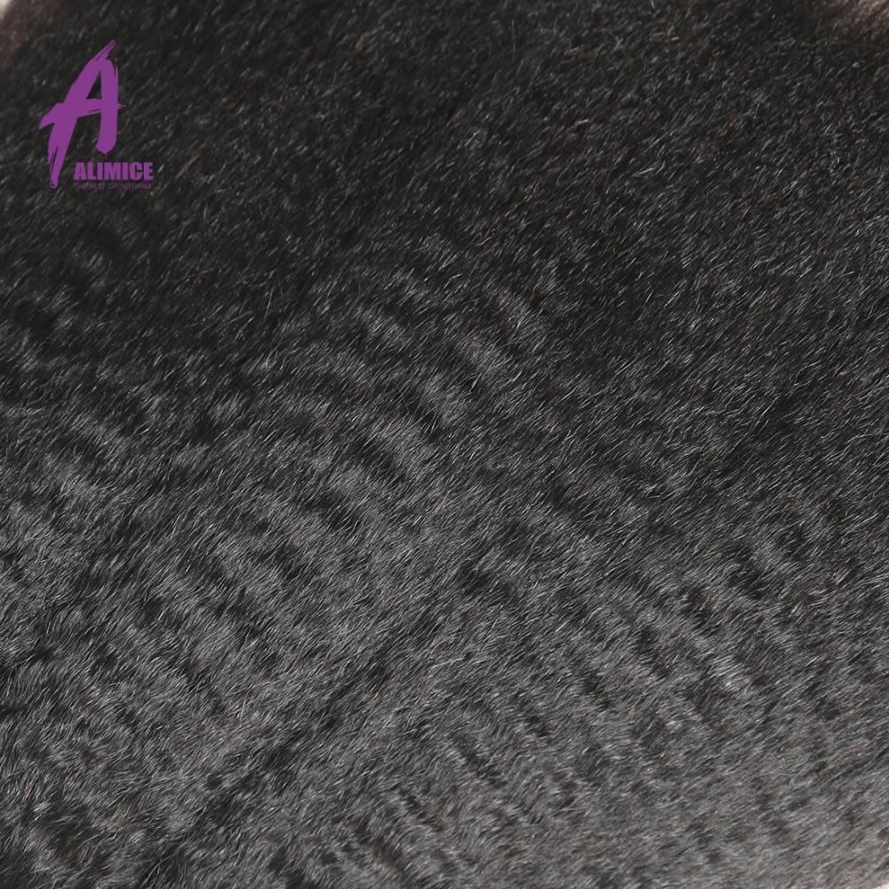 Alimice 브라질 야키 스트레이트 헤어 1/3/4 번들 특가 - 인간의 머리카락 (검은 색) - 사진 4