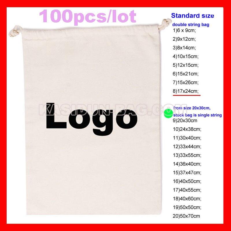 100pcs lot personlized promotional gift pouch cotton string bag logo