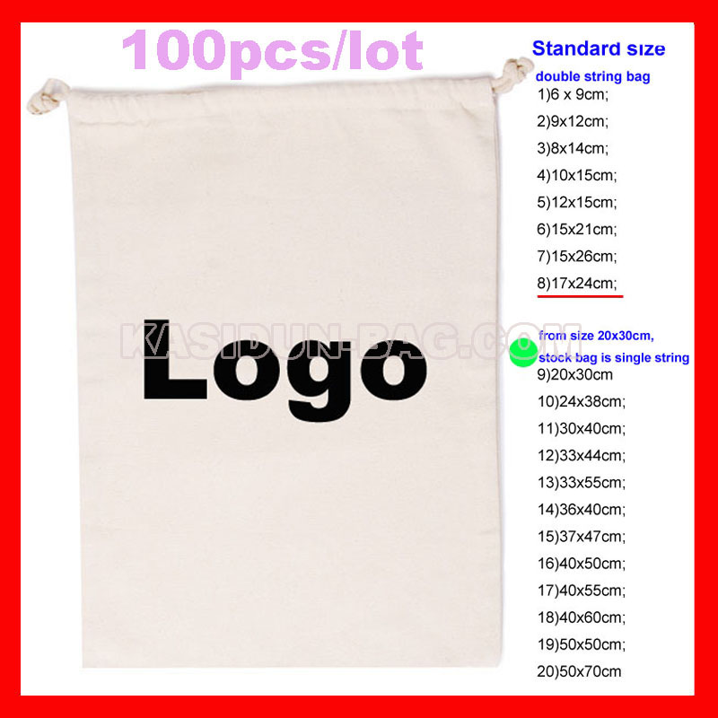 (100pcs/lot) personlized custom eco-friendly cotton pouch gift drawstring bag with logo bucket bag with drawstring inner pouch