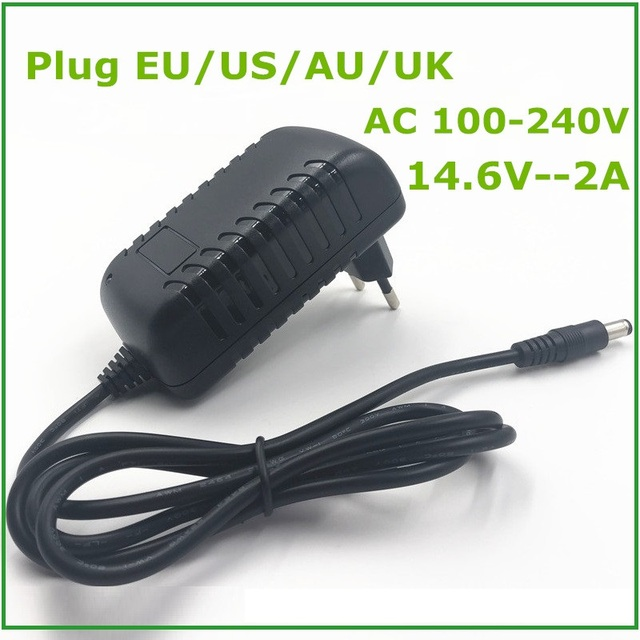 14.6V Smart Intelligent Charger 2A for 4S 12.8V LiFePO4 Battery Pack EU/US/AU/UK Plug