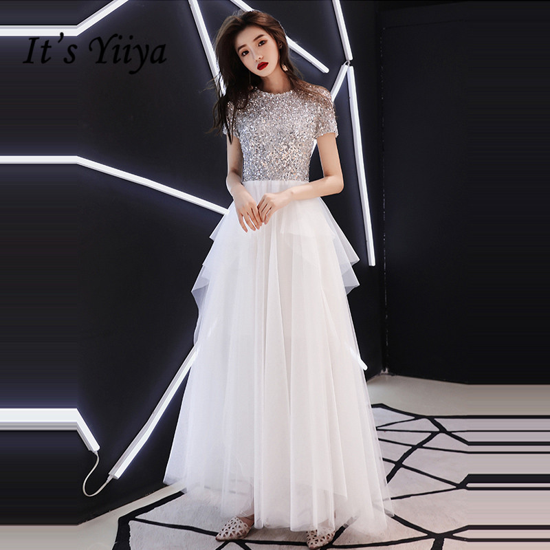 It's YiiYa Evening Dress 2018 Shiny Sequined O-neck Tiered Pleat Floor-length Dinner Gowns LX1274 A-line Robe De Soiree
