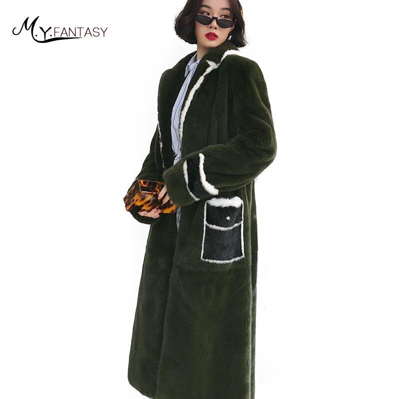 Perte Importé Violet long Turn S Green MYFansty Velours Manteau De down Fourrure Vison Col Army 2019 Réel D'hiver Femmes X shQxtdrC