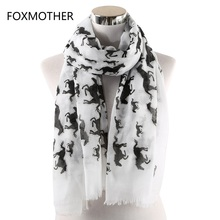 FOXMOTHER White Horse Scarf Women Shawls Wraps Bufanda Mujer Animal Foulard Femme Scarves Ladies Spring 2019