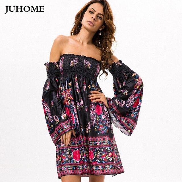 pretty nice 1b926 1158c US $14.09 19% di SCONTO 2018 Donne di Estate vestiti a maniche lunghe più  breve skater dress robe femme boho chic Tunica Beach Wear hippie di boho ...