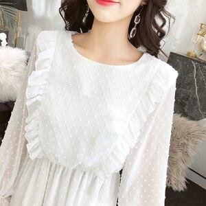 Image 5 - BGTEEVER Rüschen Polka Dot Frauen Chiffon Kleid Elastische Taille Flare Hülse Weibliche Lange Vestidos A linie Weiß Kleid 2019