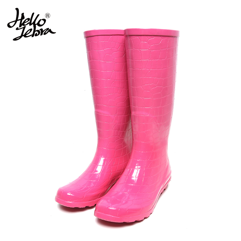 Women Rain Boots Fashion Knee high 2016 Pink Crocodile Pattern Rain Shoes Girl Summer Rubber Waterproof Rainboots Ladies Shoes free shipping fashion madam featherweight rubber boots rainboots gumboots waterproof fishing rain boots motorcycle boots
