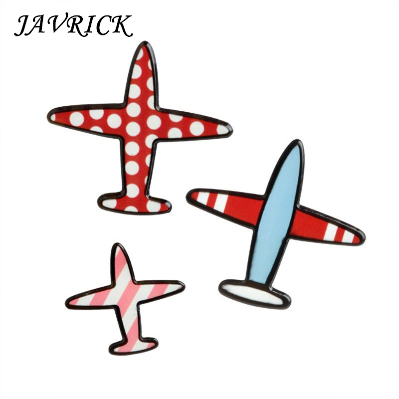 JAVRICK 3 Pcs/Set Airplane Brooch Acrylic Enamel Pins Travel Collection Decoration Scarf Clothes Women Men Gifts Jewelry Badge image