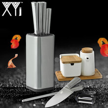 "XYj Stainless Steel Kitchen Knife Stand Tool Holder Multifunctional Tool Holder 8"" Knife Block Sooktops Tube Shelf Chromophous(China)"