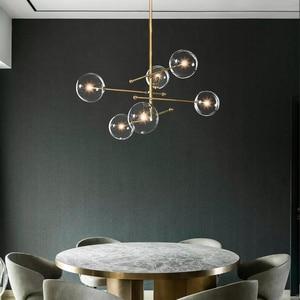 Image 4 - Postmodern LED chandelier ceiling living room hanging lights home fixtures Nordic dining room pendant lamps Glass ball lighting