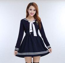 Japanese School Uniforms for Women Hi-quality Korean Navy Sailor School Uniforms For Girls Straps Skirt + Long Sleeve Shirt +Tie