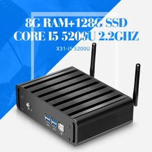 Настольный компьютер I5 5200U 2.2 ГГц безвентиляторный пк 8 г оперативной памяти 128 г SSD + WIFI промышленный пк 1080 P мини-пк 6 * USB + HDMI + VGA