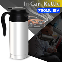 Car Based Heating Stainless Steel Cup Kettle Travel Trip Coffee Tea Heated Mug Motor Hot Water For Car Or Truck Use 750ml 12V