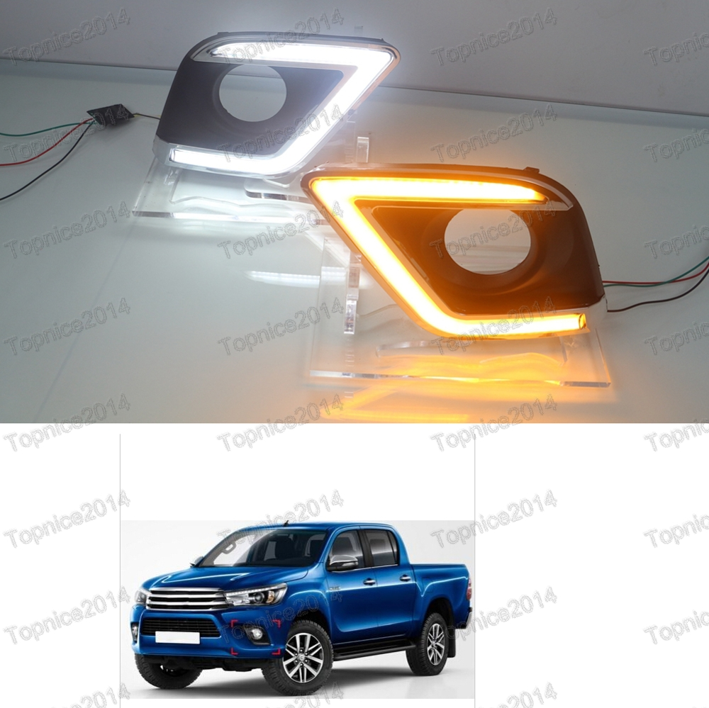 1Pair Daytime Running Lights DRL LED Fog Lamps With Yellow Turn Signal Lights For Toyota Hilux Revo Vigo 2015-2016