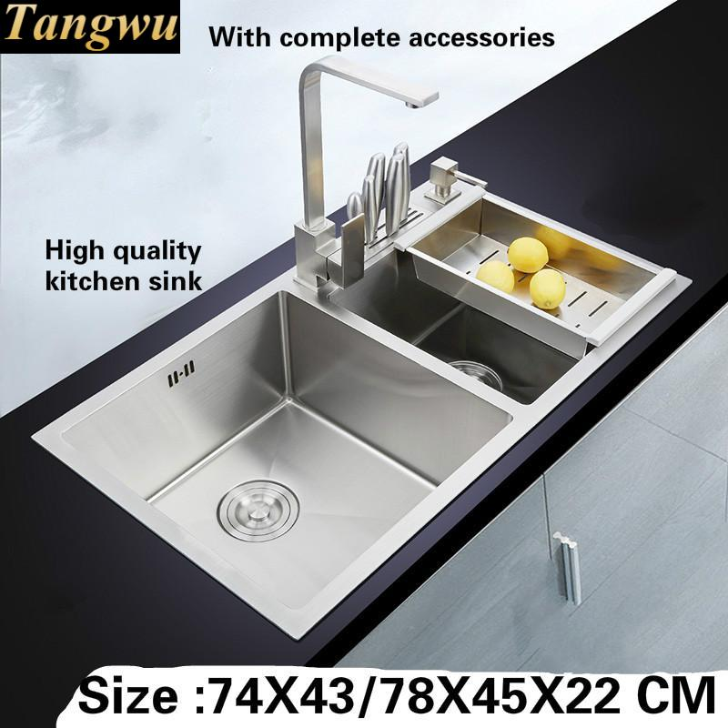 Tangwu Handmade big double slot 4 mm thick high-grade kitchen sink food-grade 304 stainless steel 74X43/78X45X22 CM 4mm 7x19 grade 304 high tensile structure core stainless steel wire rope cable wick high quality wick diy