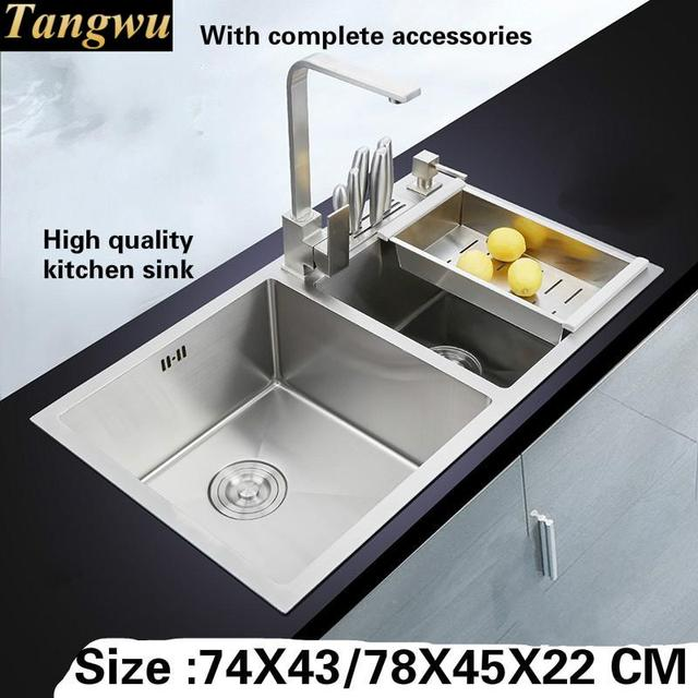 Tangwu Handmade Double Slot 4 Mm Thick High Grade Kitchen Sink Food