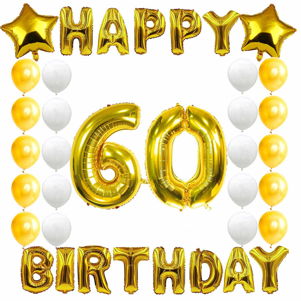 Amawill 60th Birthday Party Decoration Kit Happy Birthday Banner Golden White Balloon Creative 60 Years Old Party Supplies 6d