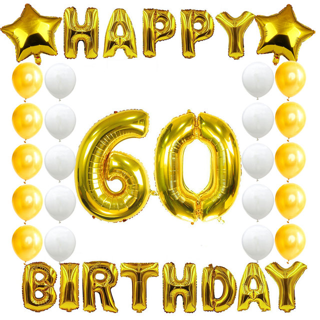 Amawill 60th Birthday Party Decoration Kit Happy Banner Golden White Balloon Creative 60 Years Old Supplies 6D