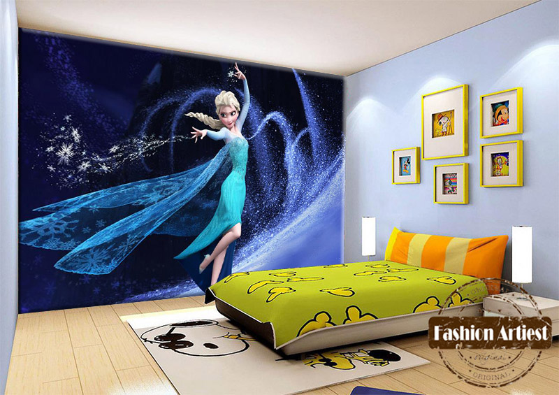 Custom Kids Girls Cartoon Wallpaper Mural Dancing Elsa Magic Snow Queen Tv Sofa Children Bedroom Living Room Background