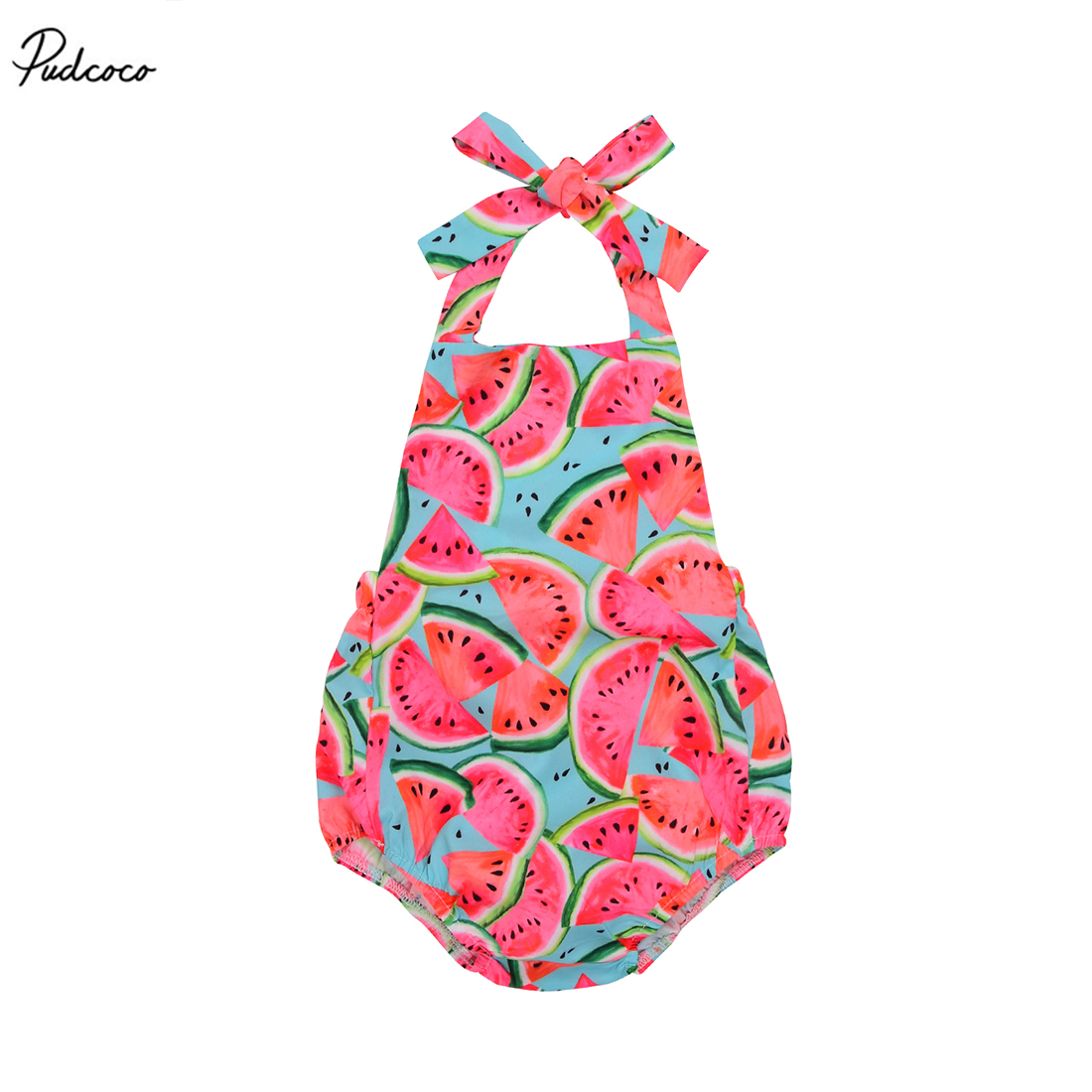 Pudcoco Cute Watermelon   Romper   Toddler Baby Kids Girls 2017 New Sleeveless Strap Backless Jumpsuit Outfits Sunsuit One-pieces