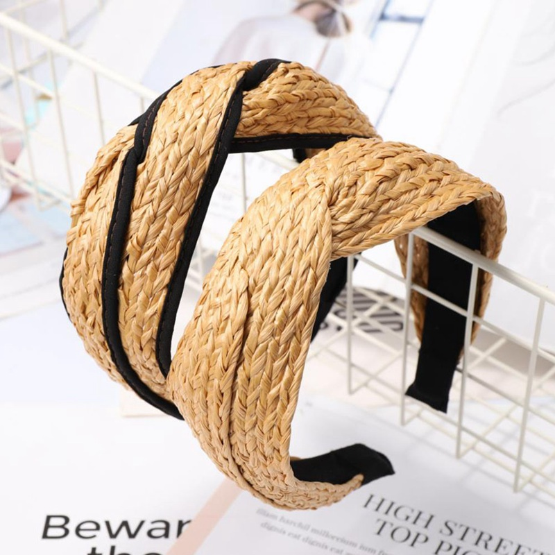Bohemian Hairband Summer Straw Weaving Knotted Headband for Women Cross Handmade Hair Hoop Hairband Hair Accessories