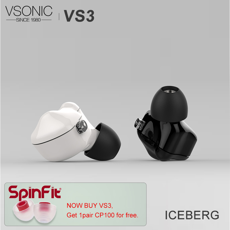 VSONIC VS3 ICEBERG HiFi Audio Dynamic Driver In ear Earphone with Detachable Cable 2Pin 0 78mm