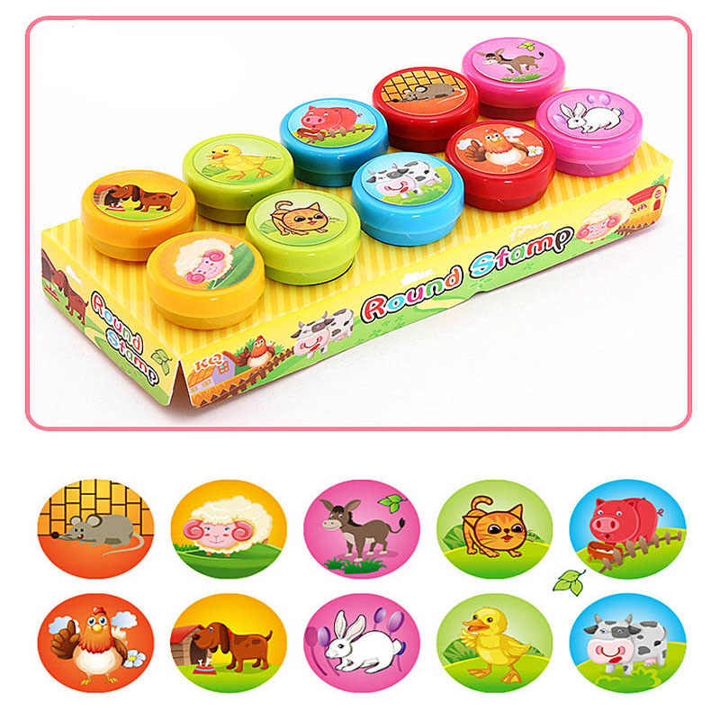 10pcs/Set Children Toy Stamps Cartoon Animals Fruits Traffic Smile Kids Seal For Scrapbooking Stamper DIY cartoon stamper Toys