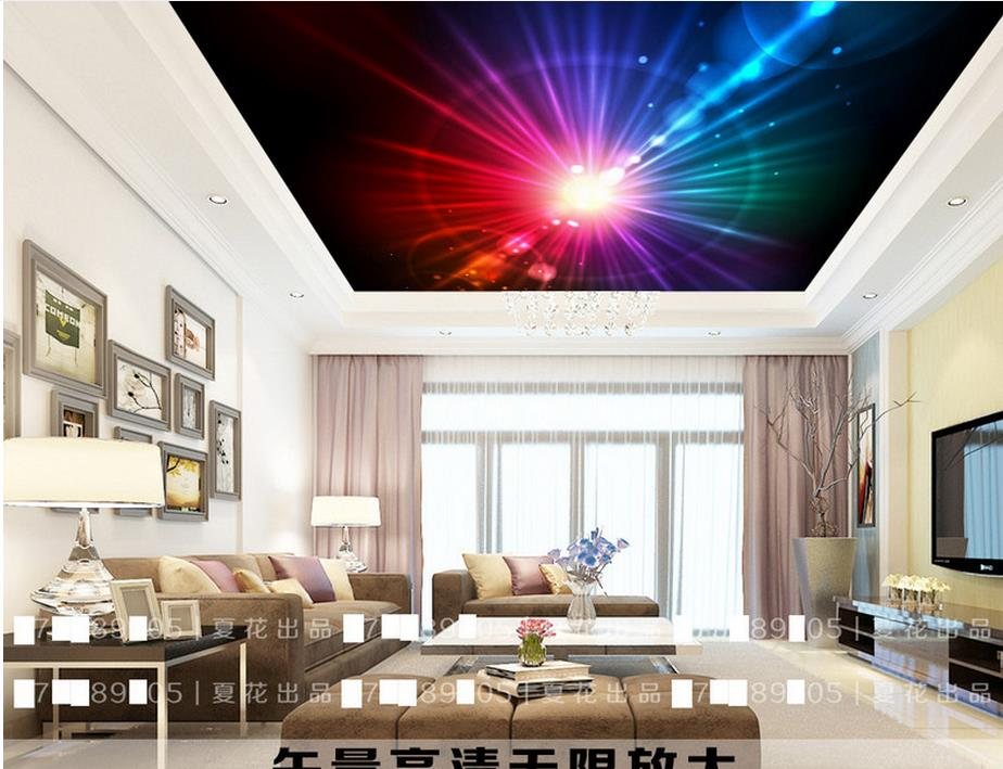 Colorful fashion 3D Ceiling Murals Wallpaper Shining Wallpaper On The Ceiling 3D Wall paperFor Living Room abstract fashion ceiling murals wallpaper dynamic lines wall paper for kids room living room bedroom ktv hotel 3d ceiling murals