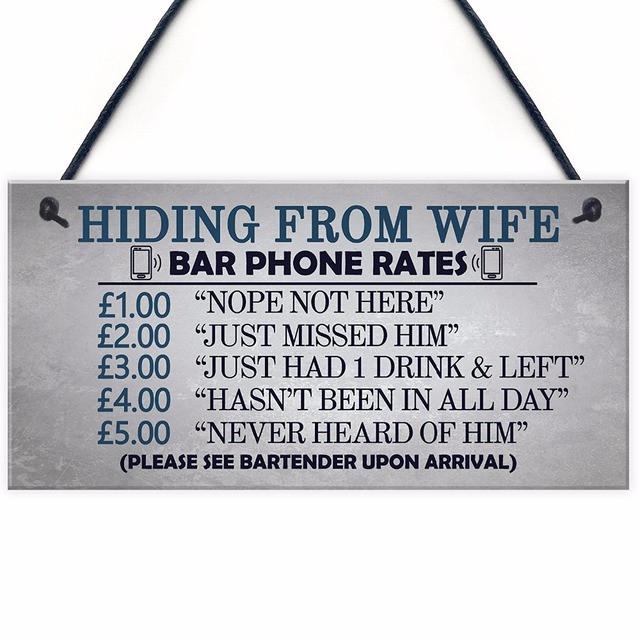 Meijiafei Gifts For Him Funny Man Cave Hiding From Wife Sign Pub Bar Plaque Birthday Dad 10 X 5