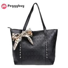854d1500fb56 2018 Women Vintage Skull Shoulder Bags Bucket PU Leather With Silk Black  Leopard Handbags Fashion Simple Casual Chain Tote Bag