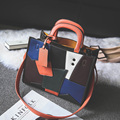 2017 new color women Fashion Handbag Tote Bag lady leather Shoulder Bag crossbody Messenger Bags stitching trend orange black