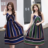 BEFORW Summer Bohemia Style Women Dress Beach Vacation Chiffon Dresses V Collar Harness Vintage Stripe Dress