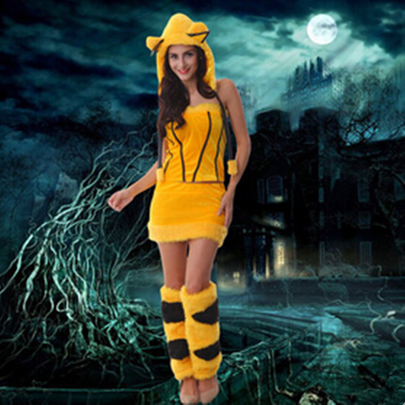 2015 Plush Free Size Animal Pikachu Halloween Costume For Woman Party Dress Cosplay Christmas Temptation Uniforms In Stock YL001