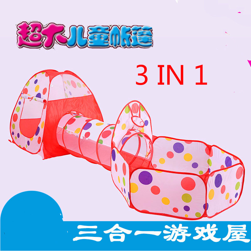 New Arrival 3 IN 1Children's Tent Large House Game Room Baby Child Toy Indoor without Ocean Ball Pool Crawl Tunnel