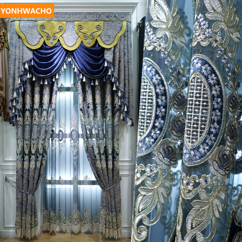 Custom Curtains European Palace Embroidered Villa Room Luxury Blue Chenille  Cloth Blackout Curtain Tulle Valance Drape B348